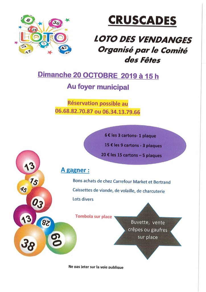 LOTO DES VENDANGES @ FOYER Municipal